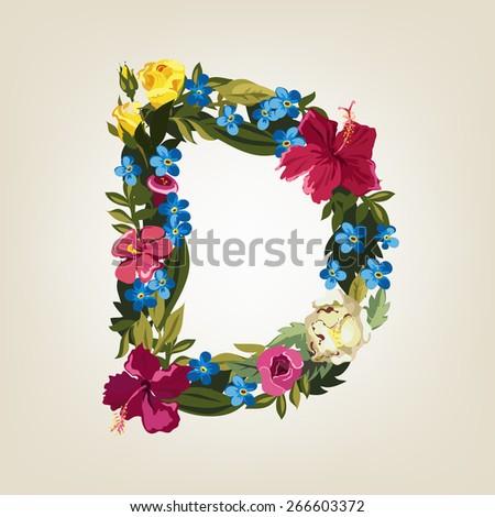D letter. Flower capital alphabet. Colorful font. Uppercase.  Vector illustration. - stock vector