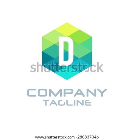 D Letter Logo Icon Hexagon Mosaic Pattern Design template Element - Creative Shape Polygonal logo design - Vector illustration - stock vector