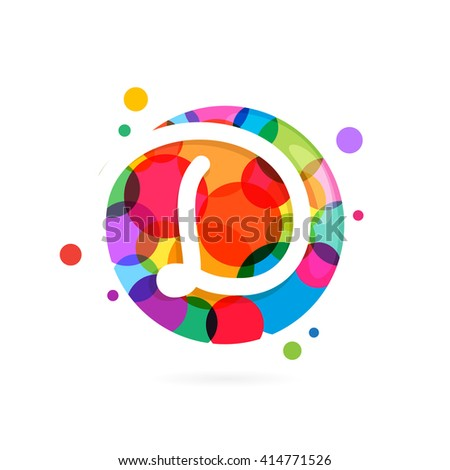 D letter logo in circle with rainbow dots. Font style, vector design template elements for your application or corporate identity. - stock vector
