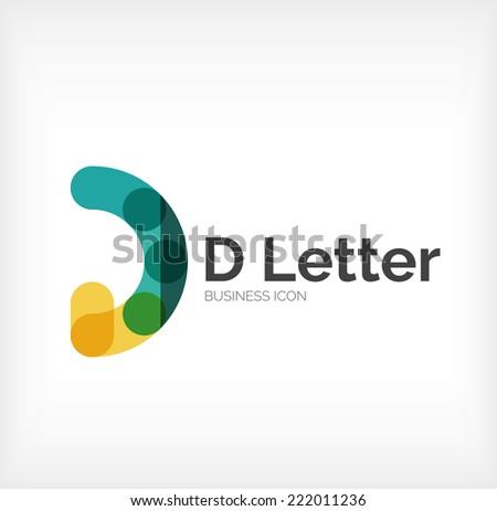 D letter logo, minimal line design, business icon - stock vector