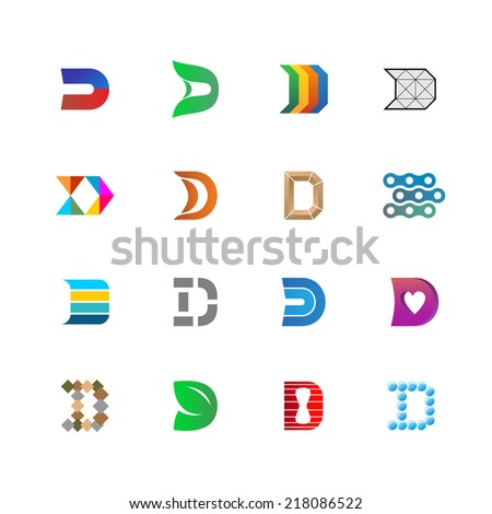D letter logo templates set. Colorful signs collection. - stock vector