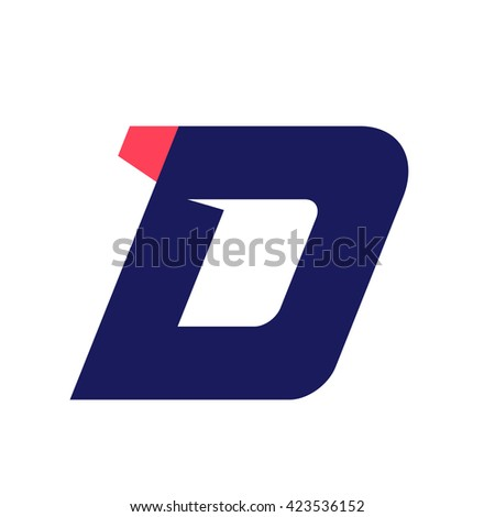 D letter run logo design template. Vector sport style typeface for sportswear, sports club, app icon, corporate identity, labels or posters. - stock vector
