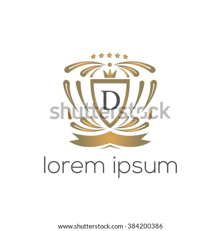 D letter vector logo template (sign, symbol, emblem, ornament, blazon)