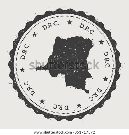 D.R.C.. Hipster round rubber stamp with Democratic Republic of the Congo map. Vintage passport stamp with circular text and stars, vector illustration - stock vector