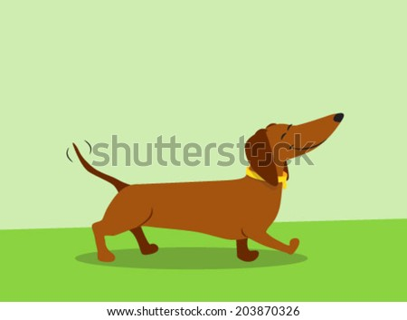dachshund cartoon - stock vector