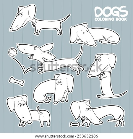 Dachshund cartoon set coloring book - stock vector