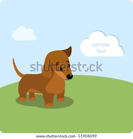 Dachshund puppy on the green lawn - stock vector