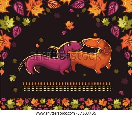 Dachshunds love - autumn banner. - stock vector