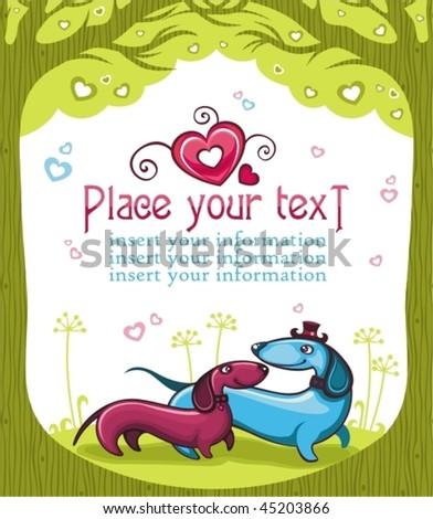 Dachshunds love - Valentine series - stock vector