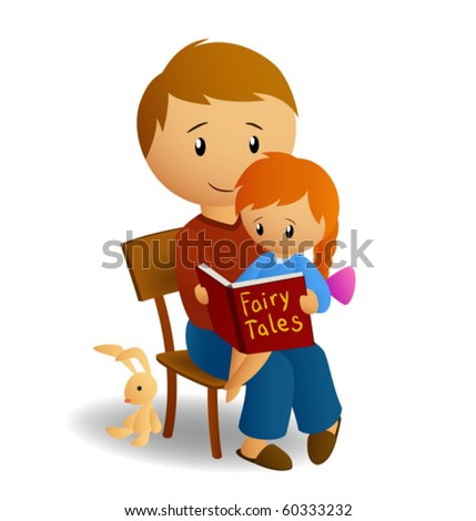 Dad and daughter read book - stock vector