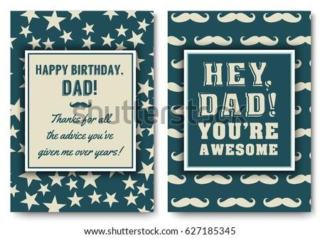 Dad Happy Birthday Card Set Love Stock Vector 627185345 - Shutterstock