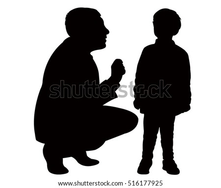 dad talk to his son gently silhouette vector