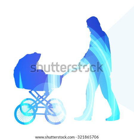 Dad with baby strollers, carriage walking man silhouette illustration vector background colorful concept made of transparent curved shapes