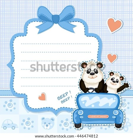 Daddy baby panda blue car baby shower stock vector royalty free daddy and baby panda in a blue carby shower invitation filmwisefo