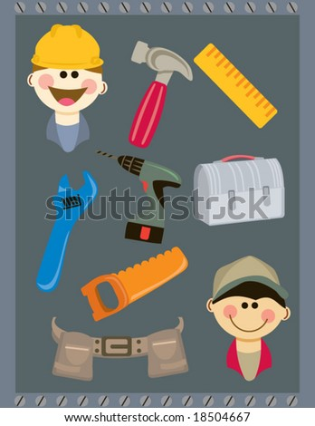 Daddy's Little Helper. Several tools and handyman related graphics - stock vector