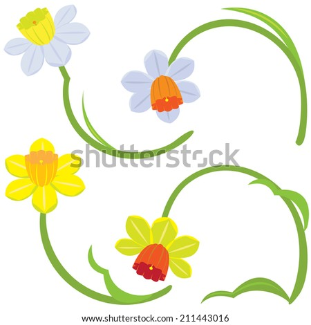 Daffodil flower painting vector set of yellow, orange, refreshing comfort. - stock vector