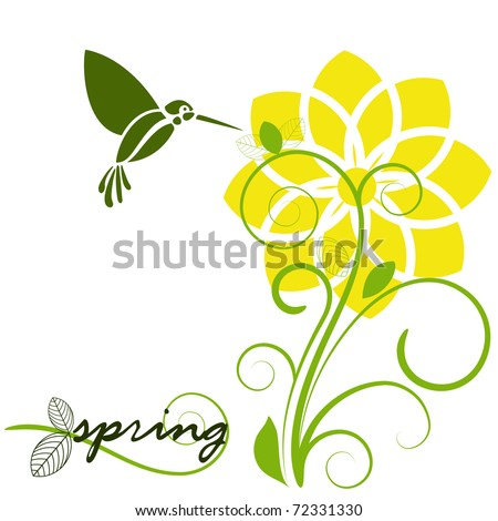 daffodil in spring with humming bird - stock vector
