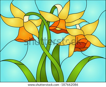 daffodils, spring flower love, Symbol of Wales / Stained glass window - stock vector
