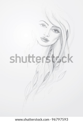 Dafne / Detail vector sketch of mythological beautiful woman