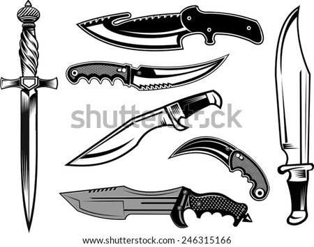 dagger and tactical knives - stock vector
