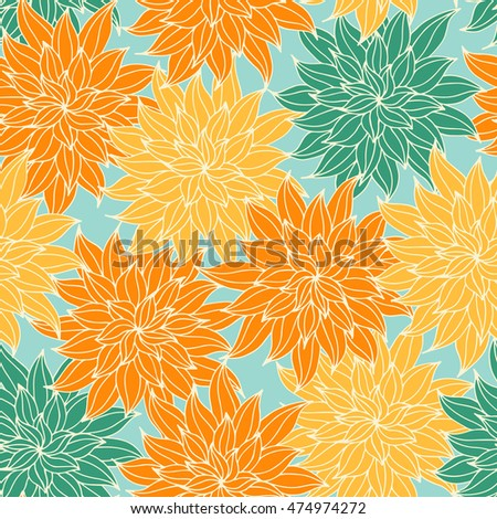 Dahlia flowers, hand drawn vector seamless pattern for textile, invitation, cards.