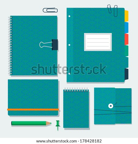 Daily kit notebooks with Japanese pattern mint color on the covers. Vector templates.   - stock vector