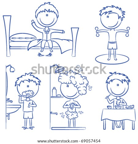Daily Morning Boys Life including wake up, morning exercises, teeth cleaning, shower and breakfast - stock vector