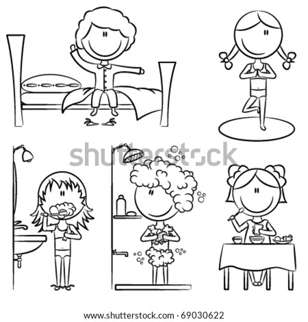 Daily Morning Girls Life including wake up, yoga, teeth cleaning, shower and breakfast - stock vector