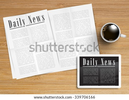 Daily News on tablet,  vector - stock vector