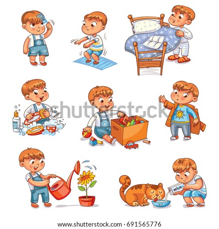 Daily routine. Child is combing his hair. Boy washes dishes. Kid is putting his toys in a box. Child makes bed. Kid himself clothes. Boy doing fitness exercise. Baby feeds a pet. Watering flowers. Set