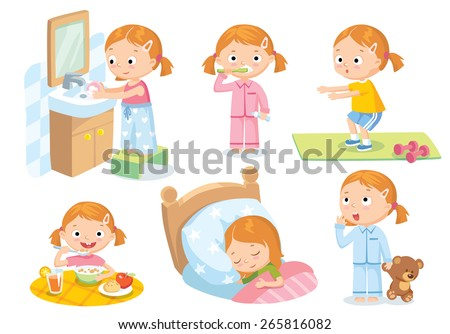 daily routines for kids - stock vector