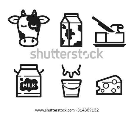 Dairy icons set, flat pictogram - stock vector