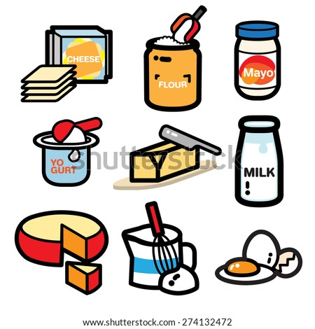 DAIRY PRODUCT popular dairy product illustrate are collected for your cooking book. It can be cute icon or sticker for your cookbook. bon appetite.  - stock vector