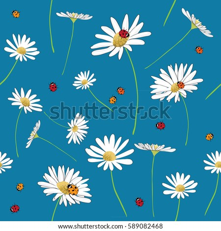 Daisies and ladybugs seamless pattern. Vector illustration on blue background