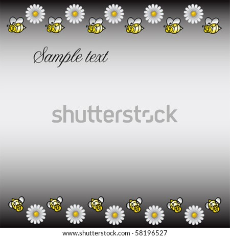 DAISIES meadow with bees background, vector
