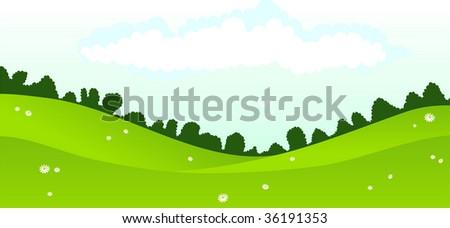 Daisy field & beautiful perfect sky. - stock vector