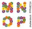 Daisy flowers Alphabet letters M-P - vector eps 8 - stock vector