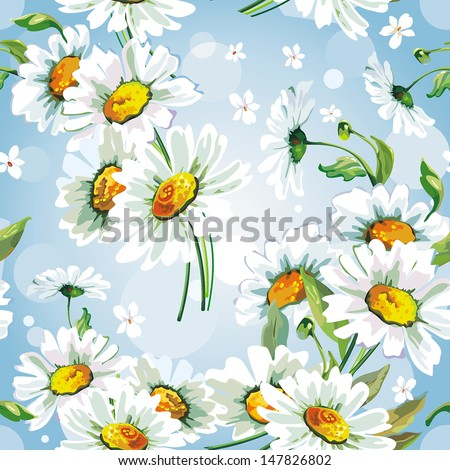 Daisywheels on blue background seamless pattern. Abstract Elegance vector illustration texture - stock vector