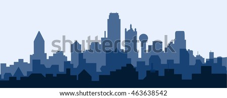 Dallas Morning Skyline - Vector