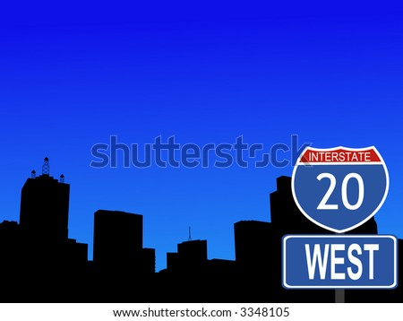 Dallas Skyline and interstate 20 sign illustration