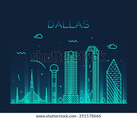 Dallas skyline, detailed silhouette. Trendy vector illustration, linear style. - stock vector