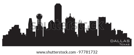 Dallas, Texas skyline. Detailed vector silhouette - stock vector