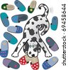 Dalmatian dog brought home slippers - stock vector
