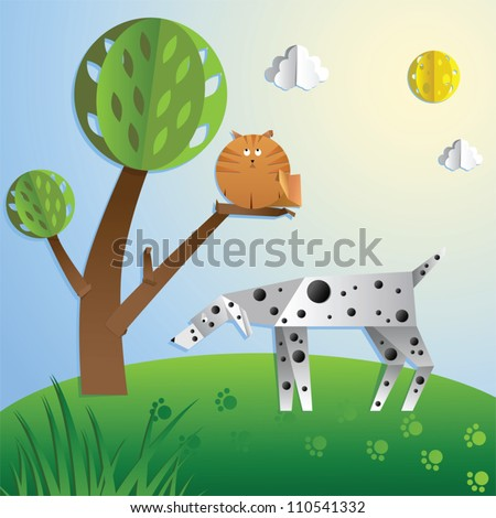 Dalmatian dog hunts for the cat. Paper cut out style illustration