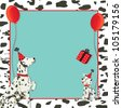 Dalmatian dog invitation and puppy dog with party hats, gift and red balloons on a spotted dalmation black and white background. - stock vector