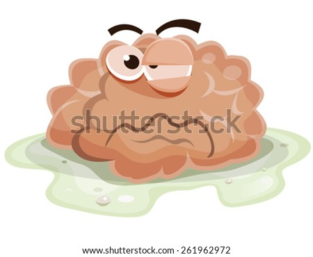 Damaged Brain Character/ Illustration of a funny cartoon sick and damaged human brain organ character, bathing into vomit and getting ill after virus or poison eating - stock vector