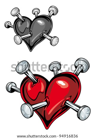 Damaged heart with nails for t-shirt or tattoo design. Jpeg version also available in gallery - stock vector