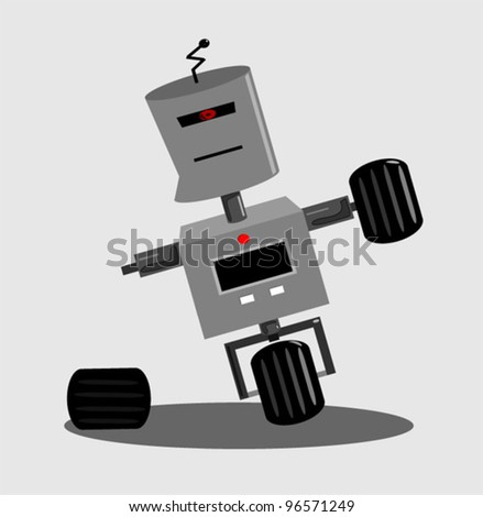 damaged robot falling over - stock vector