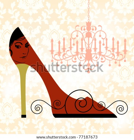 Damask background, shoe (woman's face) fashion concept - stock vector