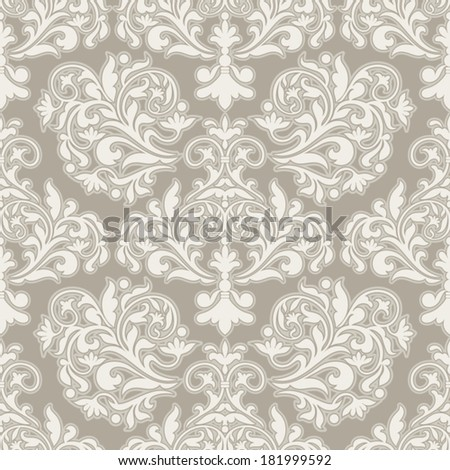 Damask beautiful background with rich, old style, luxury ornamentation, beige fashioned seamless pattern, elegant, royal vector wallpaper, floral wrapping paper, swatch fabric for decoration, design - stock vector